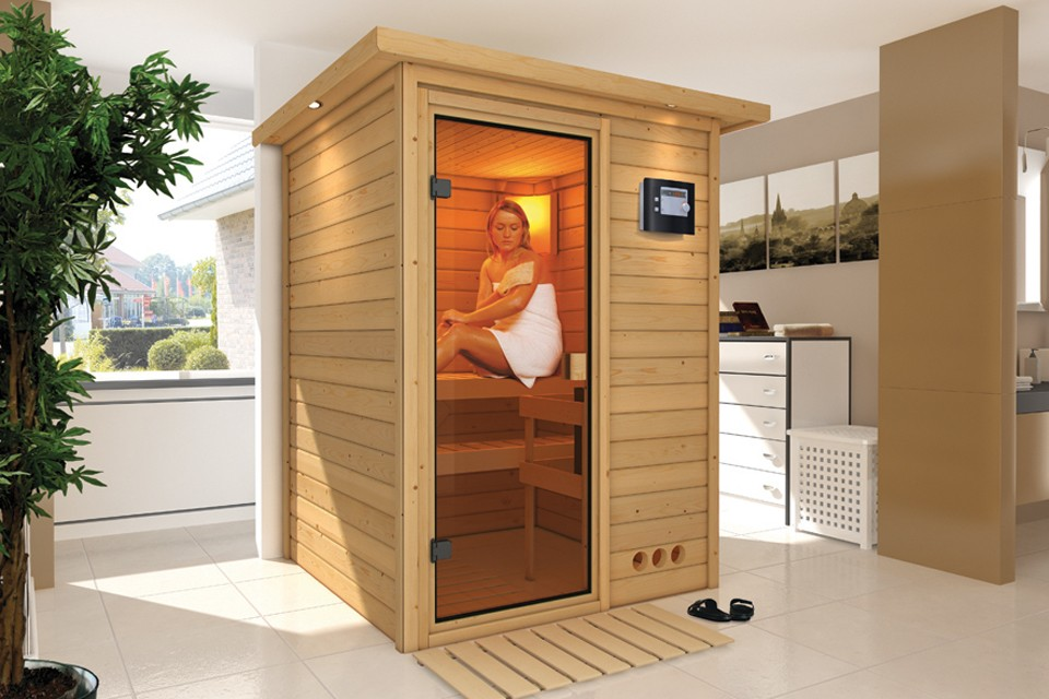 karibu massiefhouten 230v sauna nadja 172 x 158 x 202 cm carma webshop. Black Bedroom Furniture Sets. Home Design Ideas